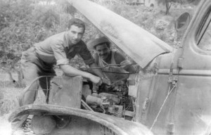 Mike, Sr working on a truck in Italy